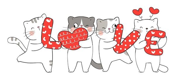 Dessinez un chat drôle avec amour et petit coeur pour la saint-valentin