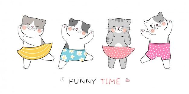 Dessinez un chat drôle pour les vacances d'été et faites la fête sur la plage.
