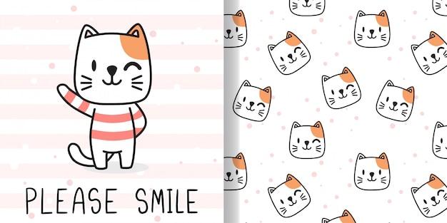 Dessinez un chat heureux. imprimer un modèle sans couture et une carte de voeux pour les enfants de textiles en tissu.