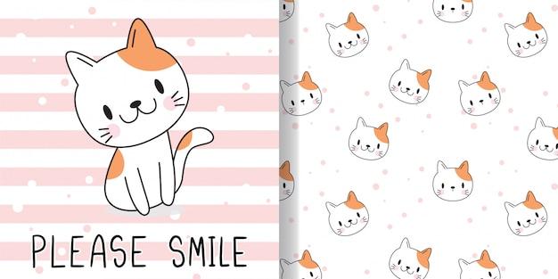 Dessinez un chat heureux. imprimez un motif sans couture et une carte de voeux pour les enfants en textile.