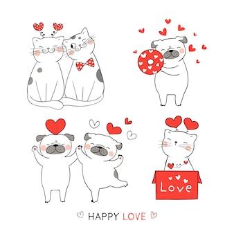 Dessinez un chat mignon et un chien carlin avec un coeur rouge pour la saint-valentin.