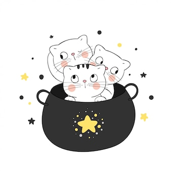 Dessinez un chat mignon dans un chaudron magique pour halloween.
