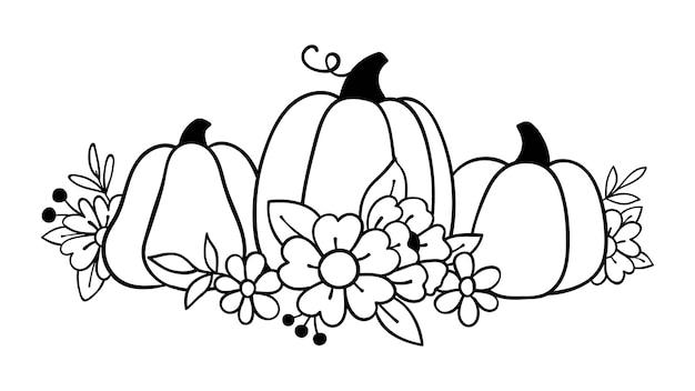 Dessinez une citrouille de fleurs sauvages pour l'automne et la saison d'automne