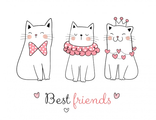 Dessinez la collection de chat doux avec le mot meilleur ami.
