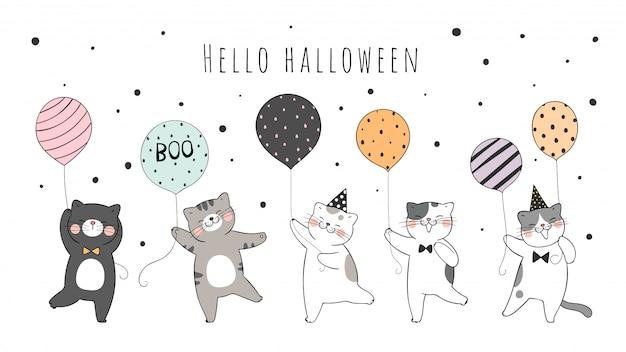 Dessinez collection chat mignon tenant un ballon pour halloween.