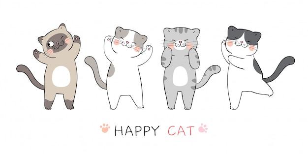 Dessinez collection style mignon de bande dessinée cat.doodle.