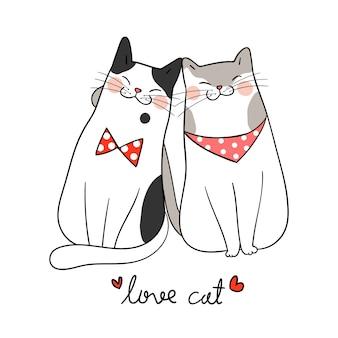 Dessinez le couple amour du chat avec le mot amour chat