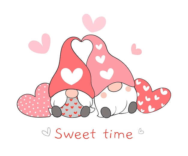 Dessinez un couple de gnomes d'amour avec un cœur pour la saint-valentin.