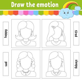 Dessinez l'émotion. une feuille de travail complète le visage. livre de coloriage pour les enfants.