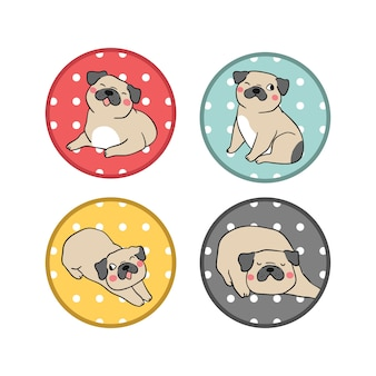 Dessinez ensemble chien logo carlin avec pois