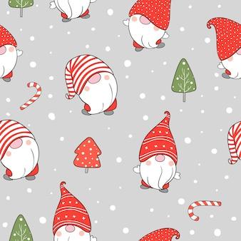 Dessinez un gnome de modèle sans couture dans la neige pour noël.