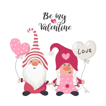 Dessinez Des Gnomes D'amour Avec Un Cœur Rouge Pour La Saint-valentin. Illustration Pour Cartes De Voeux, Invitations De Noël Et T-shirts Vecteur Premium