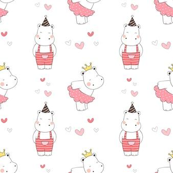 Dessinez un hippopotame de modèle sans couture pour la saint-valentin.