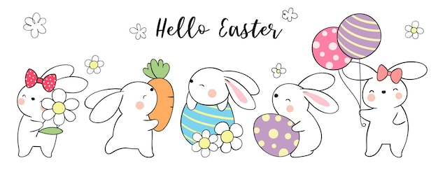 Dessinez un lapin de bannière avec des œufs pour pâques et le printemps