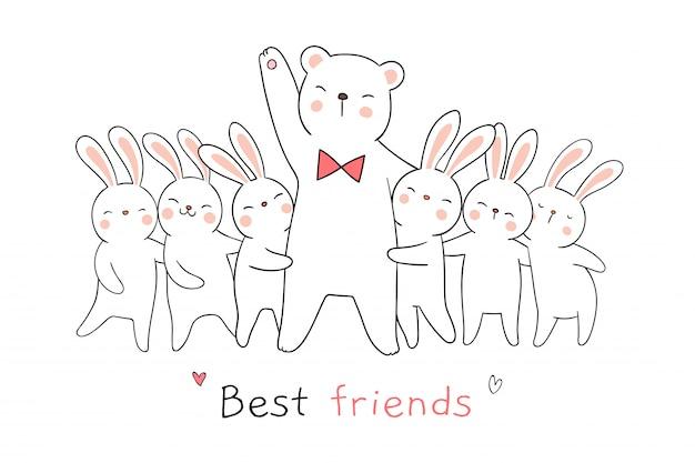 Dessinez un lapin blanc, un câlin et des mots comme meilleurs amis.