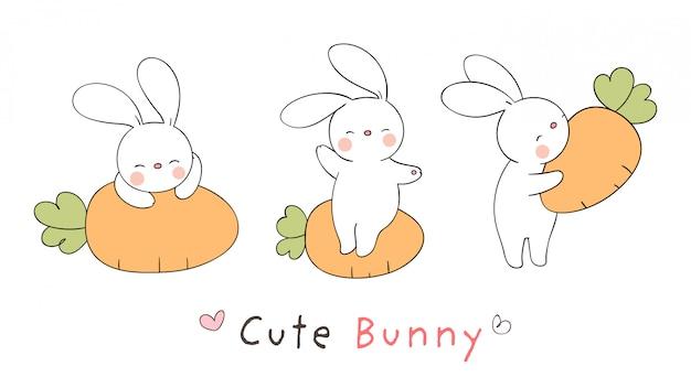 Dessinez un lapin avec des carottes pour pâques et le printemps.