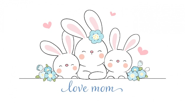 Dessinez maman lapin et bébé mignon avec une fleur de beauté pour la fête des mères.