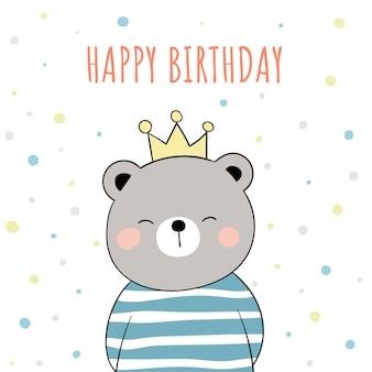 Dessinez un ours mignon sur blanc pour l'anniversaire.