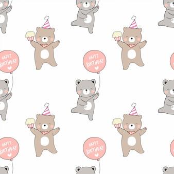 Dessinez l'ours modèle sans couture avec le petit gâteau ballon et le chapeau de fête.