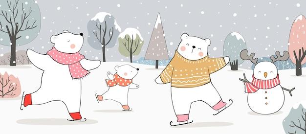 Dessinez un ours polaire sur des patins à glace dans la neige en hiver et à noël.