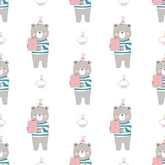 Dessinez un ours sans couture tenant une boîte-cadeau avec un petit gâteau pour l'anniversaire.
