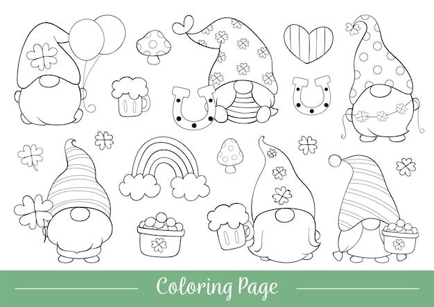 Dessinez la page de coloriage d'illustration du gnome mignon pour st patrick.