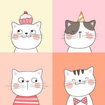 Dessinez le portrait d'un chat mignon dans un style doodle de couleur pastel.
