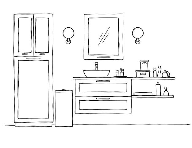 Dessinez la salle de bain. meubles de salle de bain et lavabo.