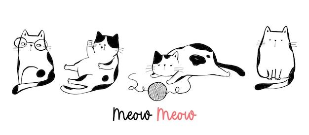 Dessinez le style de dessin animé de doodle de chat drôle de personnage.