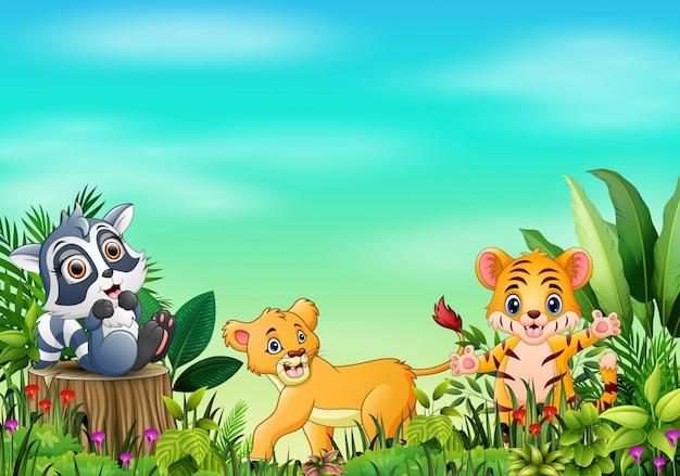 Dessins animés d'animaux dans de beaux jardins avec un ciel bleu