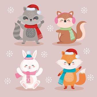Dessins animés animaux dans la conception de la saison de noël joyeux, illustration de thème hiver et décoration