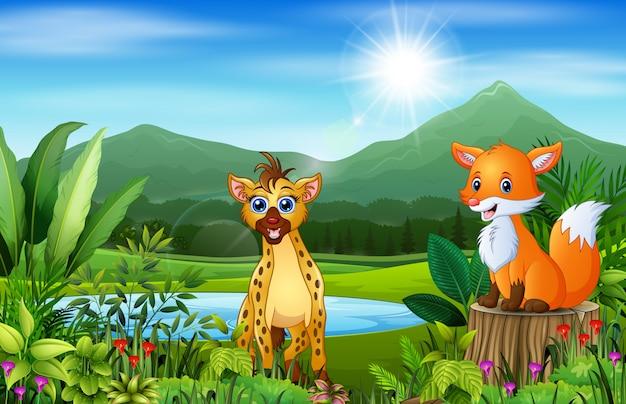 Dessins animés d'animaux sauvages avec de beaux paysages verts