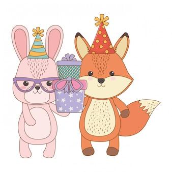 Dessins animés avec cadeau de joyeux anniversaire