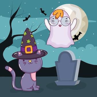 Dessins animés de chat mignon halloween