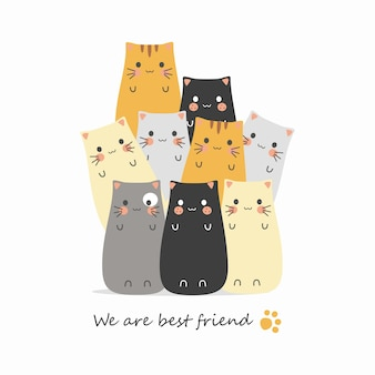 Dessins animés chat mignon