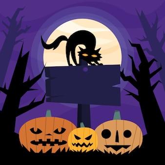 Dessins animés de citrouilles d'halloween et chat sur la conception de l'enseigne, thème effrayant