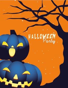 Dessins animés de citrouilles d'halloween à la conception de l'arbre, vacances et thème effrayant