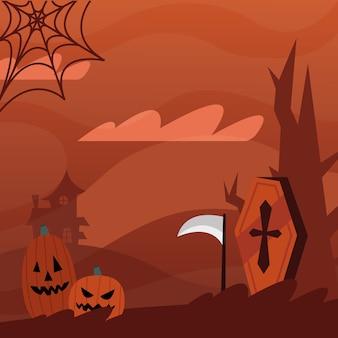 Dessins animés de citrouilles d'halloween et conception de cercueil, thème effrayant