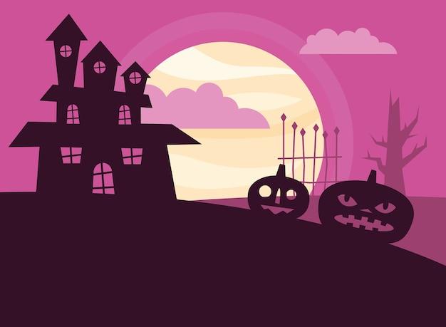 Dessins animés de citrouilles d'halloween et conception de la maison, thème effrayant