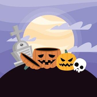 Dessins animés de citrouilles d'halloween avec tombe dans la conception de nuit, thème effrayant