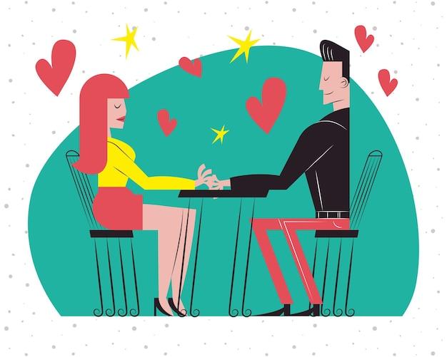 Dessins animés de couple romantique à table de restaurant avec conception de coeurs, thème de l'amour et de la romance