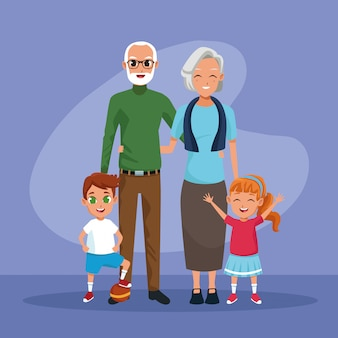 Dessins animés enfants grands-parents et petits-fils