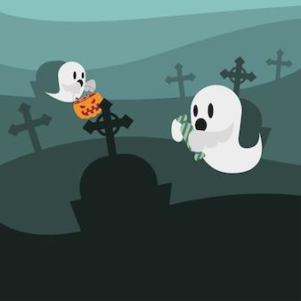 Dessins animés de fantômes d'halloween à la conception du cimetière, thème effrayant