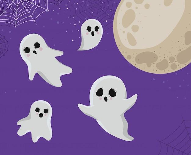 Dessins animés de fantômes d'halloween avec la conception de la lune, les vacances et le thème effrayant