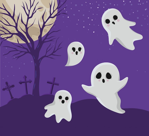 Dessins animés de fantômes d'halloween devant la conception du cimetière, les vacances et le thème effrayant