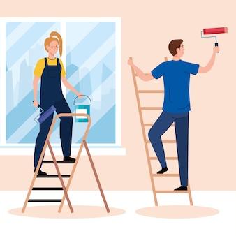 Dessins animés femme et homme peinture avec seau à rouleaux et échelles de conception de travaux de rénovation et de réparation de construction