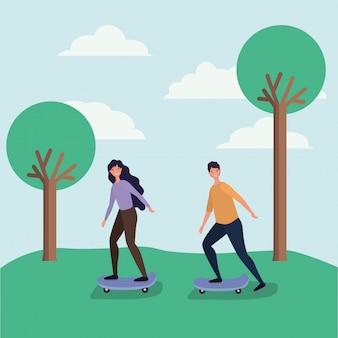 Dessins animés femme et homme sur planche à roulettes à la conception de vecteur de parc