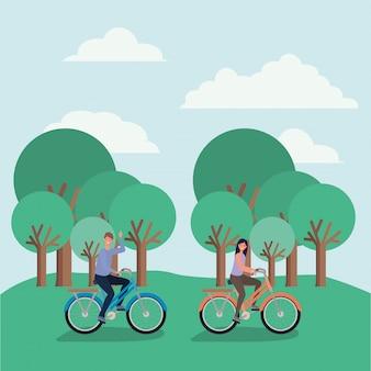 Dessins animés femme et homme à vélo à la conception de vecteur de parc
