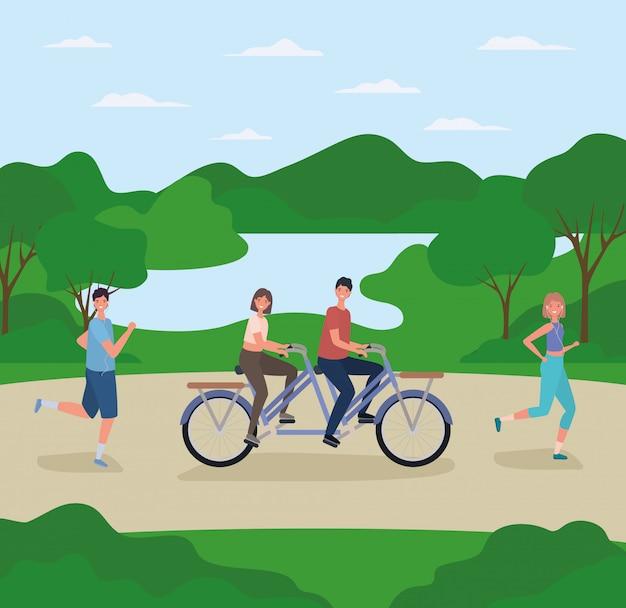 Dessins animés femme et homme à vélo et en cours d'exécution à la conception de vecteur de parc