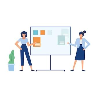 Dessins animés de femmes d'affaires avec conseil d'administration, affaires de bureau et gestion